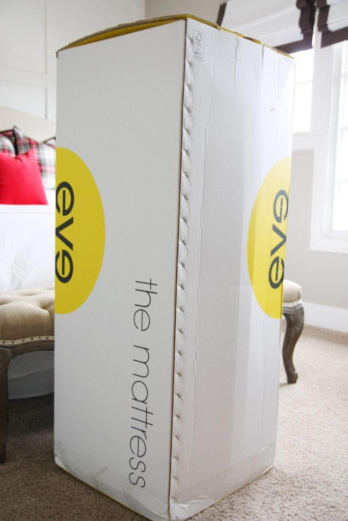 A white an yellow Eve mattress box.