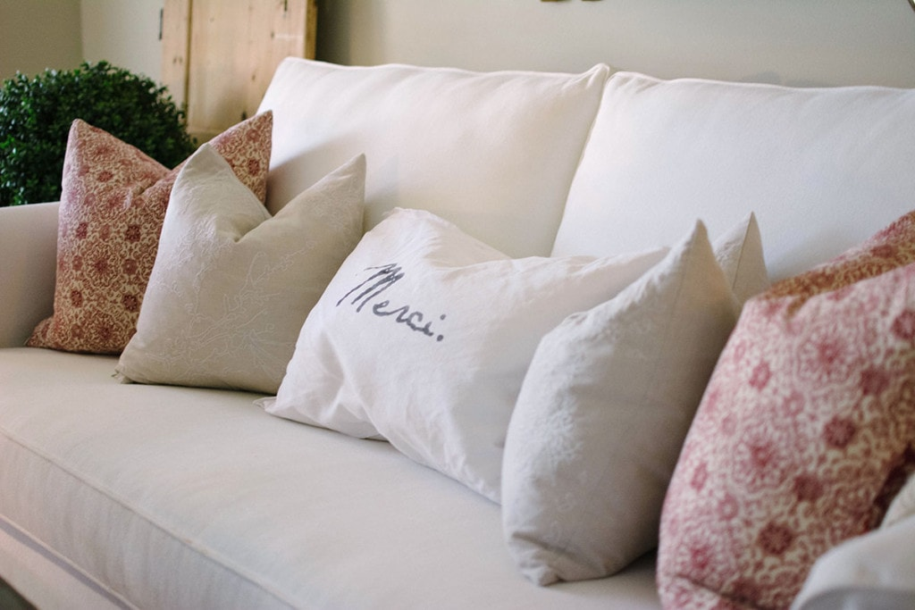Front Room Pillows. These accent pillows are simple and sleek. Not too much overwhelming detail in a room already packed with textures and colors. - Neutral Home Tour - Life On Virginia Street