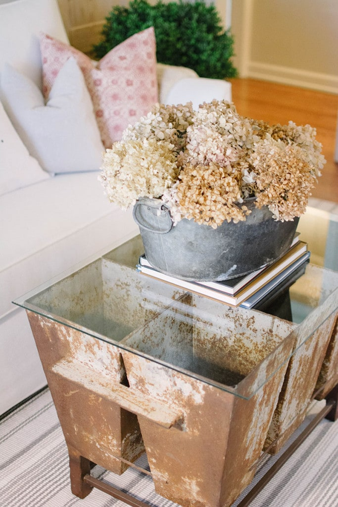 Front Room Table. Love this repurposed steel bucket centerpiece! - Neutral Home Tour - Life On Virginia Street