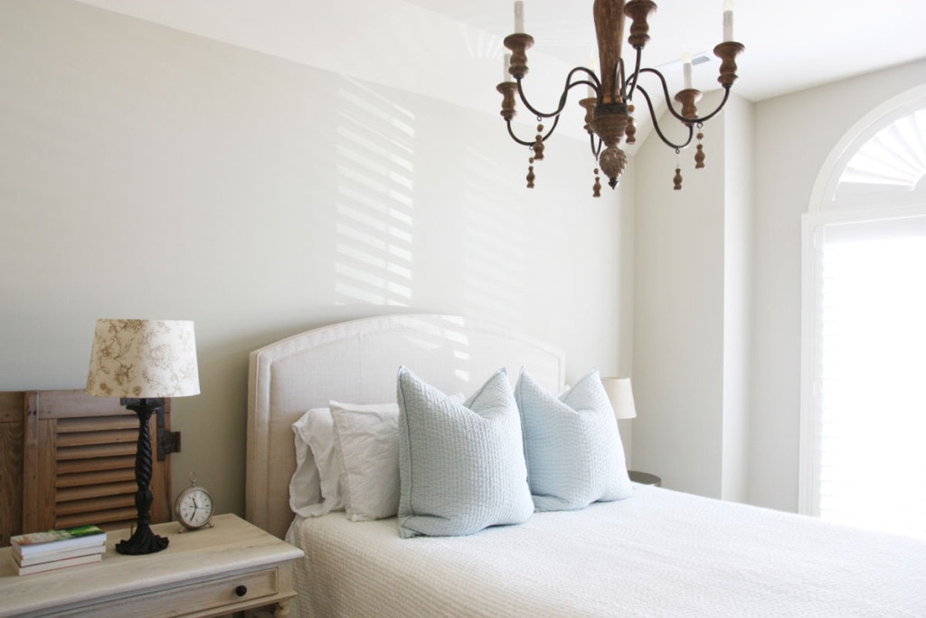 Guest Bedroom main bed and bedside table - Neutral Home Decor - Life On Virginia Street