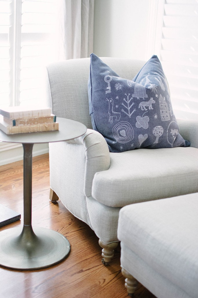 Living Room Chair Details - sometimes a cute, detailed fabric is the perfect choice for an accent pillow. - Neutral Home Tour - Life On Virginia Street
