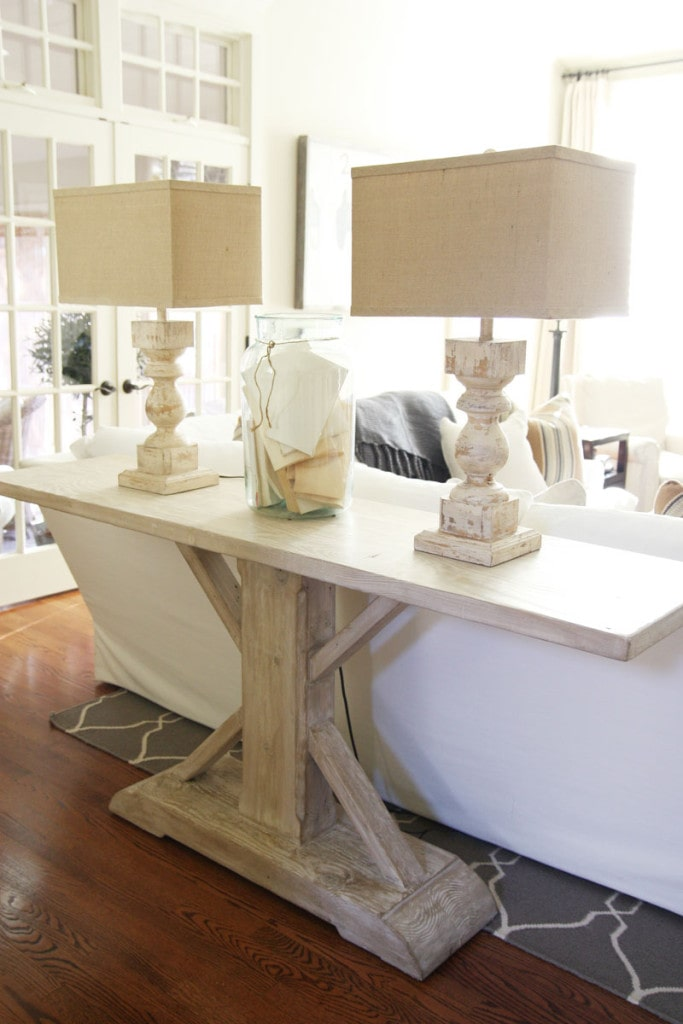 Living Room Console Table - look at these lamps! This gorgeous weathered wood and marbled stone lamps are stunning! - Neutral Home Tour - Life On Virginia Street