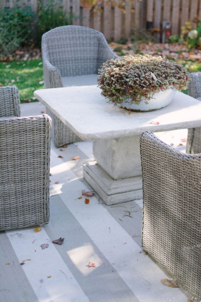 Patio Details, Wicker chairs surround a stone table and shrubbery centerpiece. - Life On Virginia Street