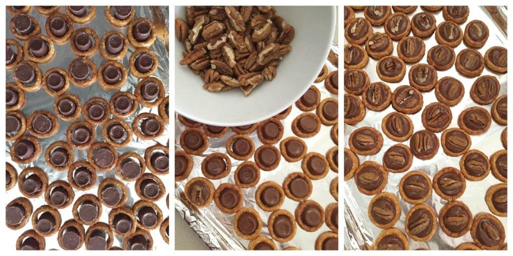 Home baked pretzel turtles on the baking sheet.