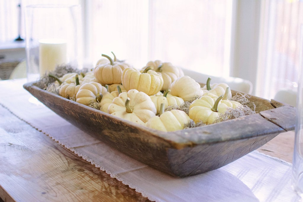 Pumpkins in Dough Bowl, Sunroom Dining Table Centerpiece - Neutral Home Tour - Life On Virginia Street