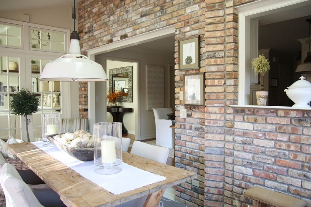 Sunroom Brick Wall - Neutral Home Tour - Life On Virginia Street