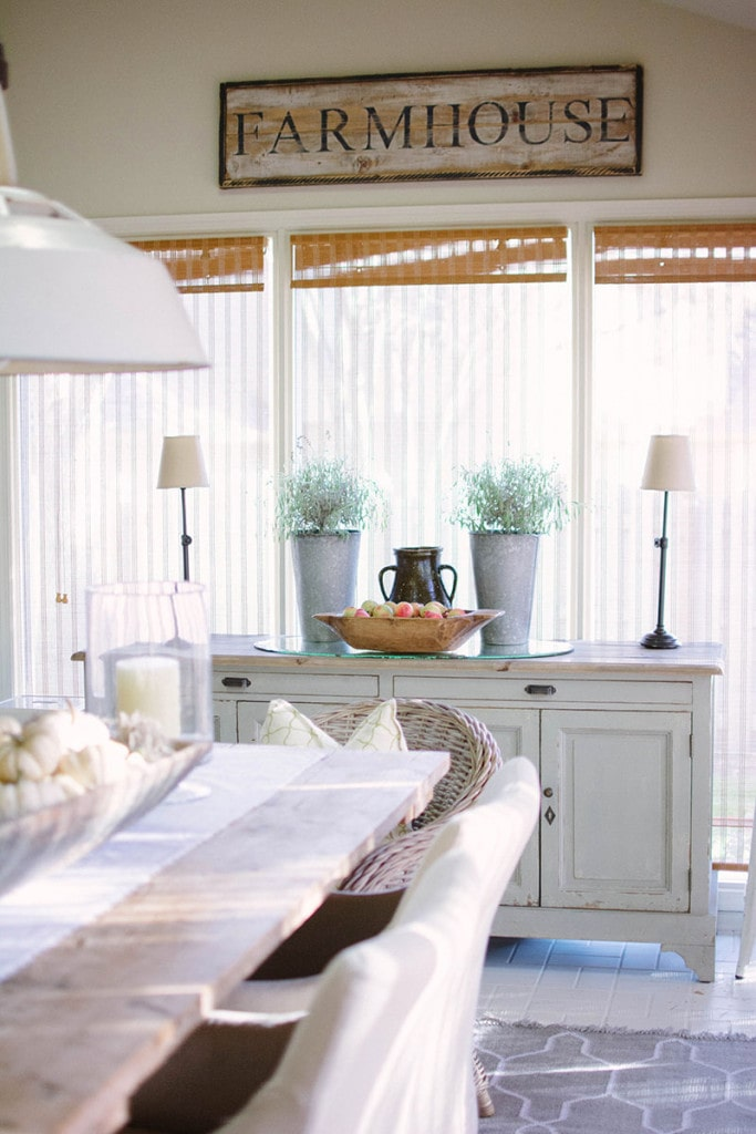 Farmhouse Sunroom Dining Area in a gorgeous neutral home tour
