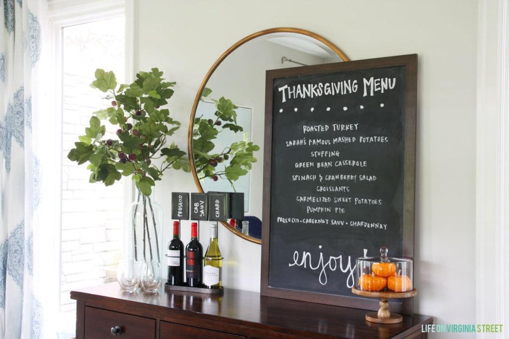 Thanksgiving Menu Display - Life On Virginia Street