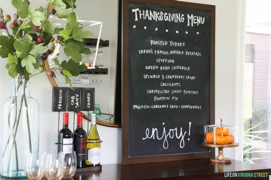 Thanksgiving Menu - Life On Virginia Street