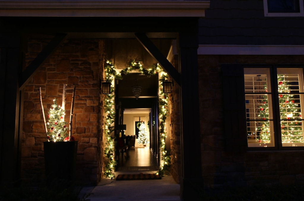 Christmas Front Porch at Night - Life On Virginia Street