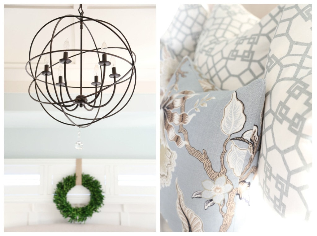 Neutral Christmas decor in a master bedroom.