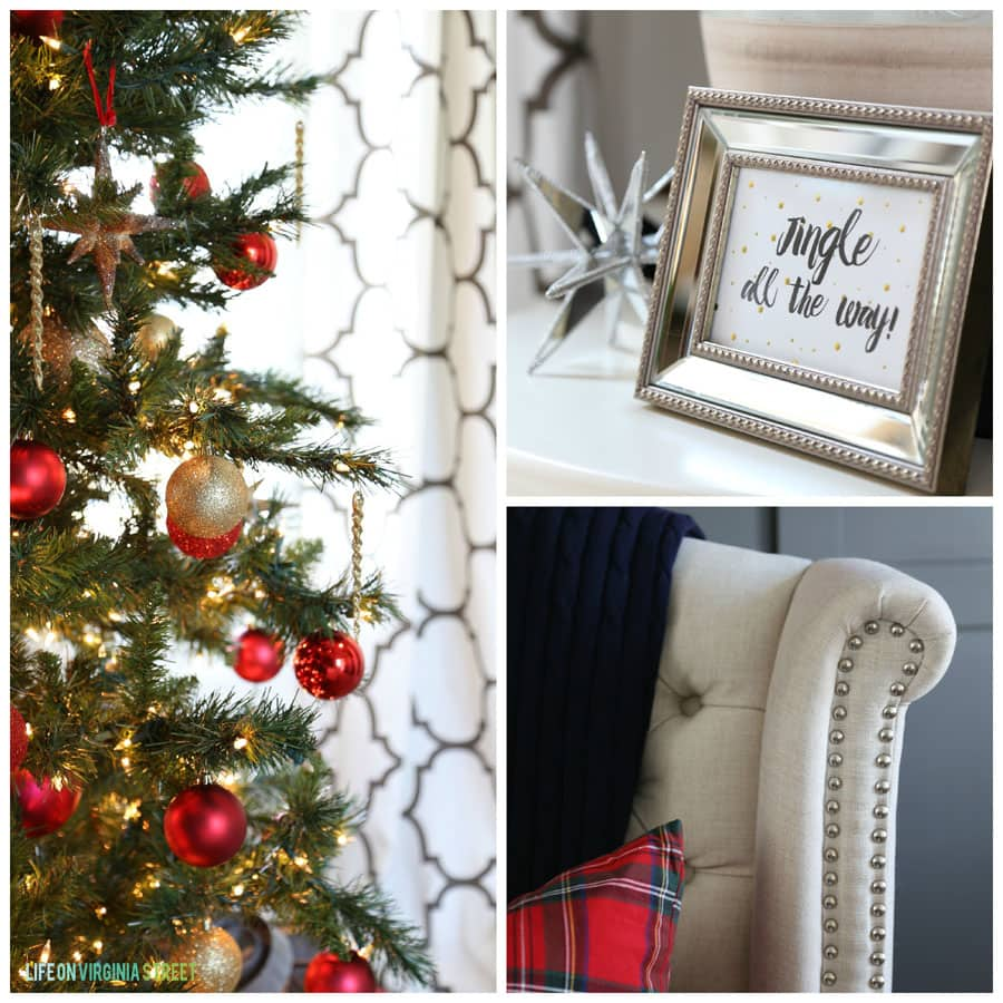 "Christmas Office Detail with ""Jingle All the Way"" art and gold and red ornaments."