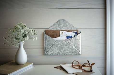 Galvanized Envelope Mail Holder