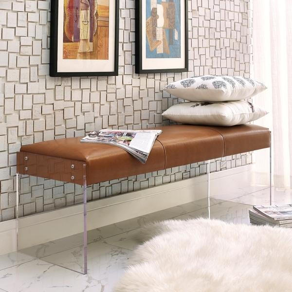 Leather & Acrylic Bench