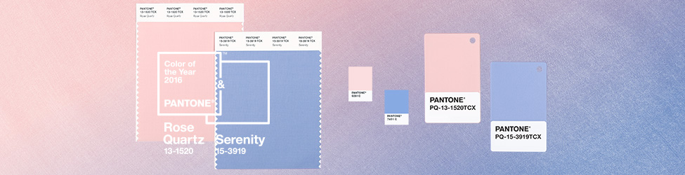 Pantone Color of the Year Rose Quart and Serenity via Pantone color swatches.