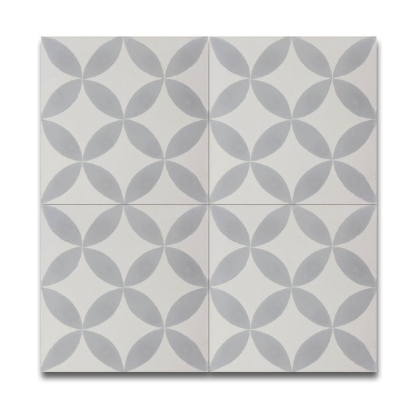 Gray and White Cement and Granite Moroccan Tile