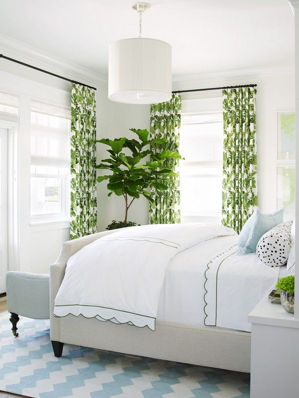 Bedroom with Fig Leaf Drapes .
