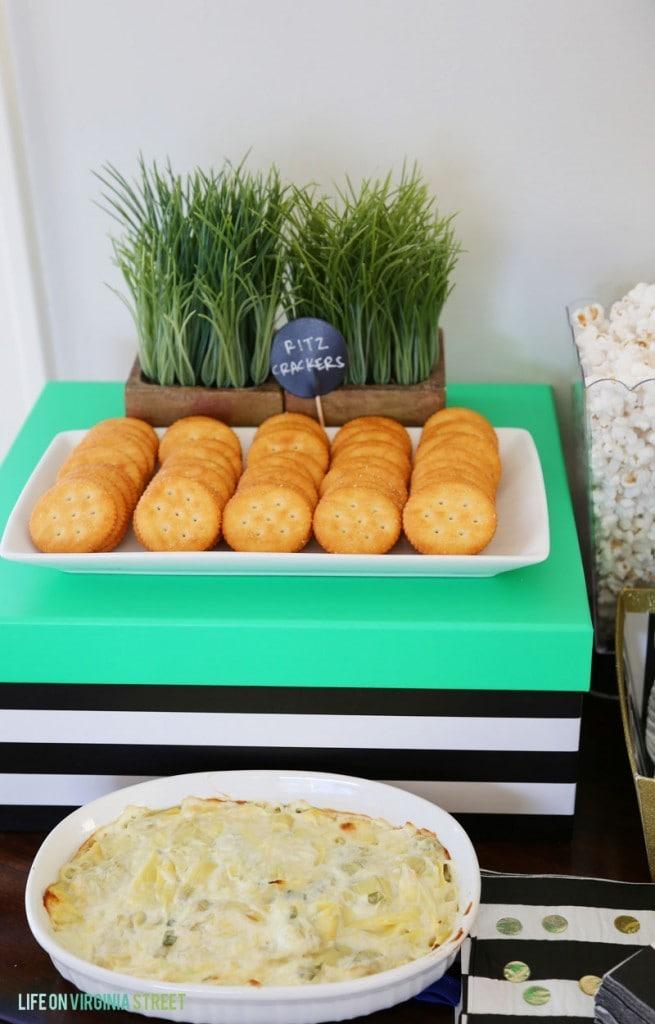 Cheesy Hot Artichoke Dip Recipe and Ritz Crackers - Life On Virginia Street