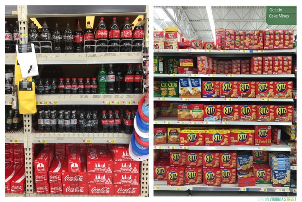 Coke Zero and Ritz Crackers on a shelf in the store.
