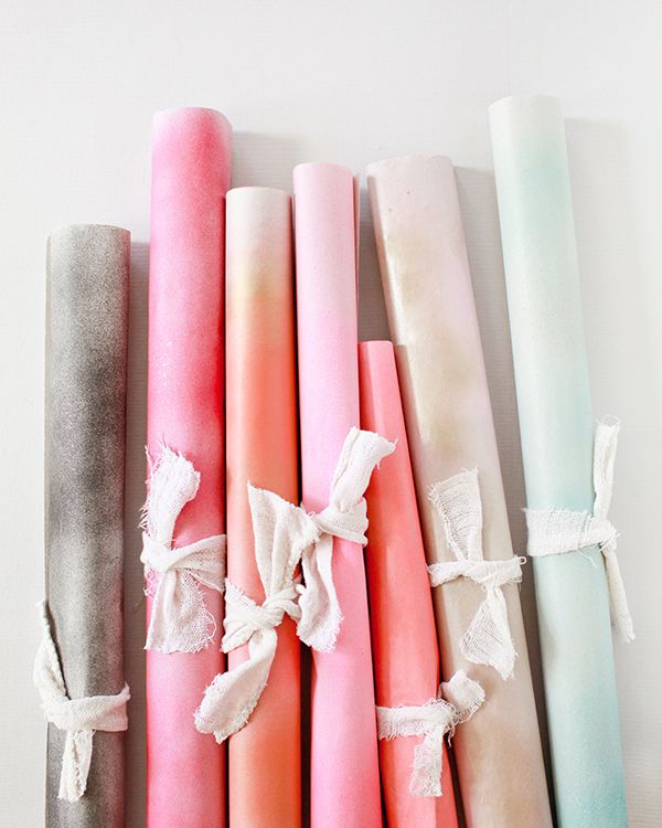 DIY Spray-Painted Wrapping Paper