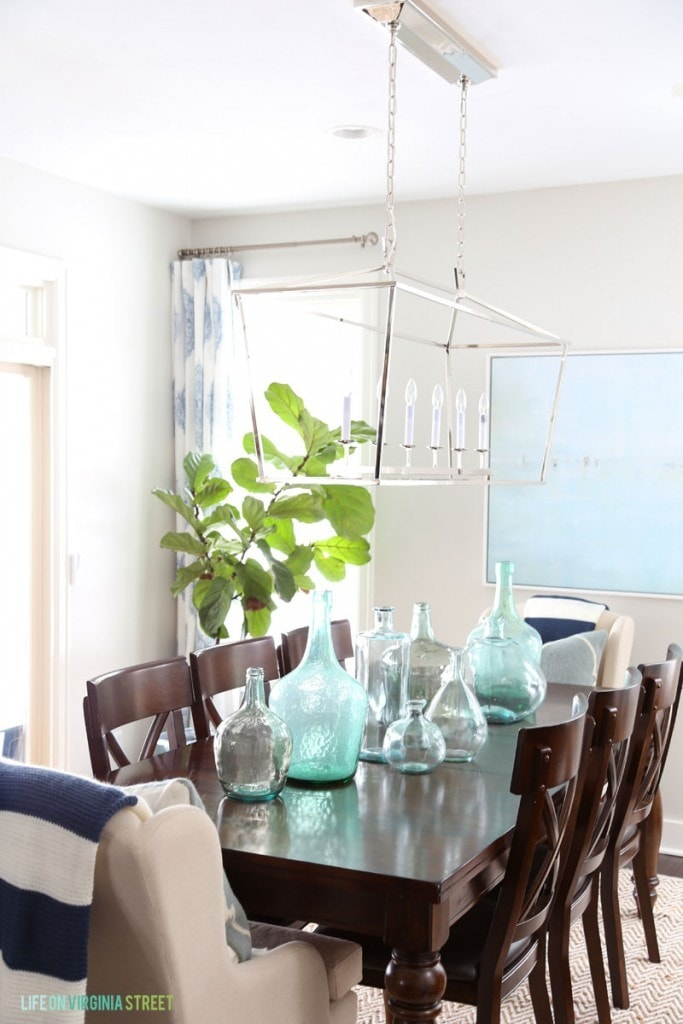 Dining Room with Striped Throws and Beachy Art - Life On Virginia Street