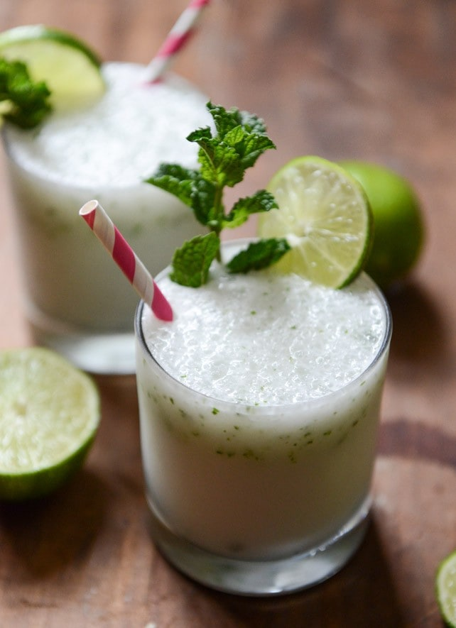 Frosty Coconut Mojitos via How Sweet It Is