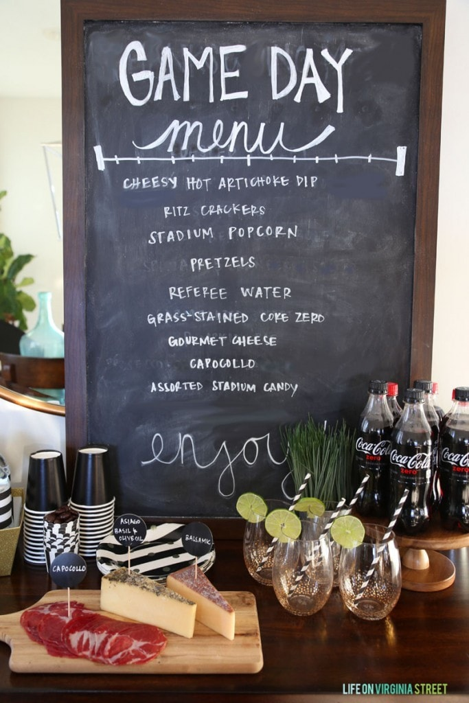 A game day menu on the chalkboard.