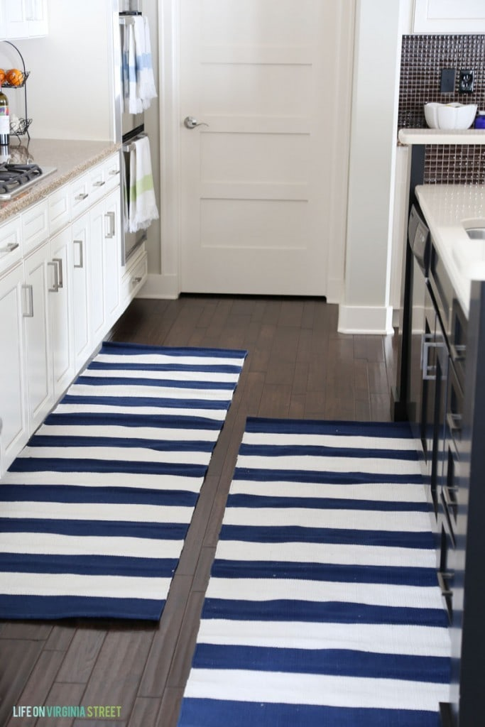 Kitchen Navy and White Striped Runner Rugs - Life On Virginia Street