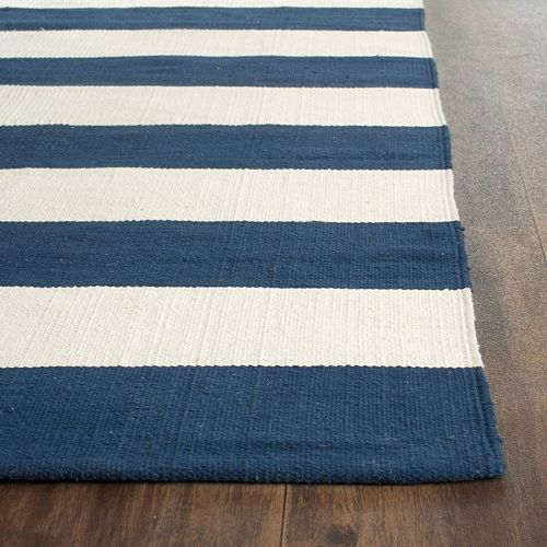 Navy and Ivory Striped Rugs