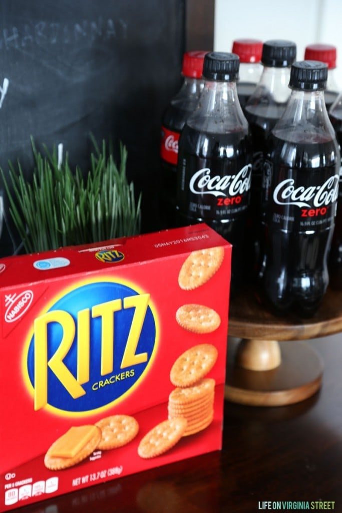 RITZ Crackers and Coke Zero on the table.