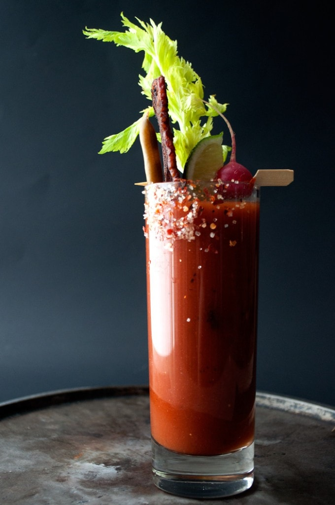 Spicy Bloody Mary with Candied Bacon via Spiceologist