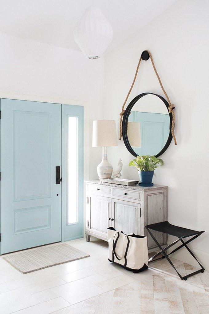 Aqua Blue Interior Front Door via House of Turquoise