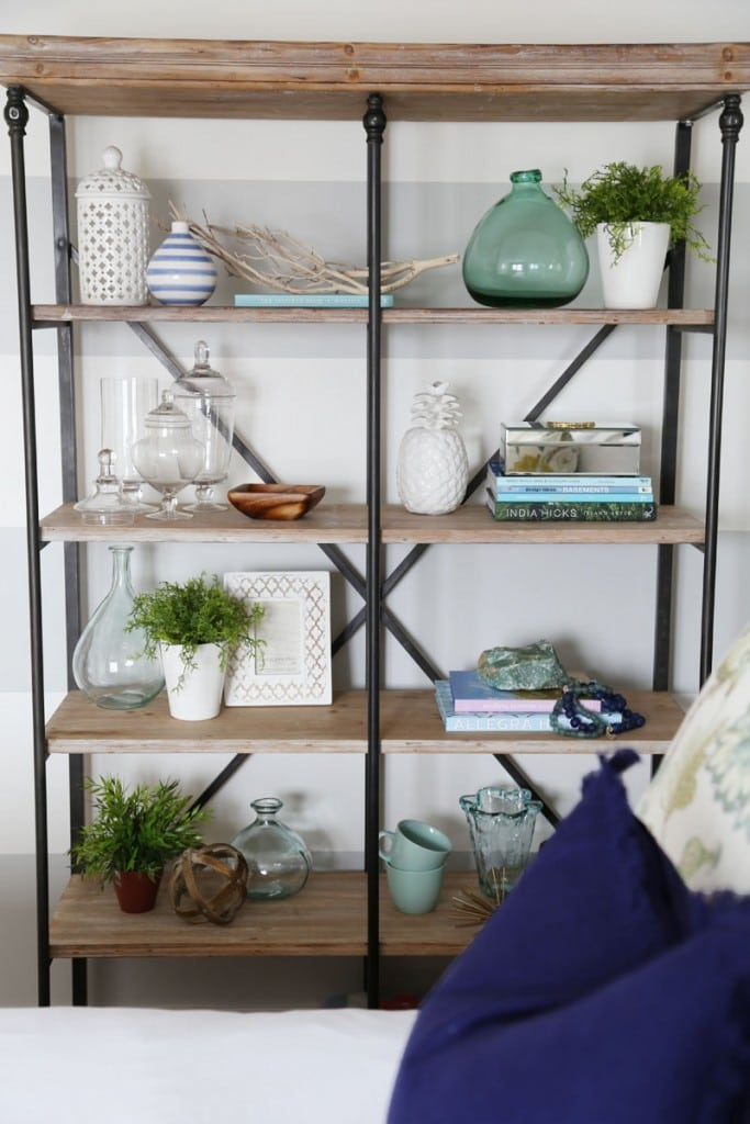 Styled Crestview Collection La Salle Bookshelf in Guest Bedroom with Beachy Coastal Vibe