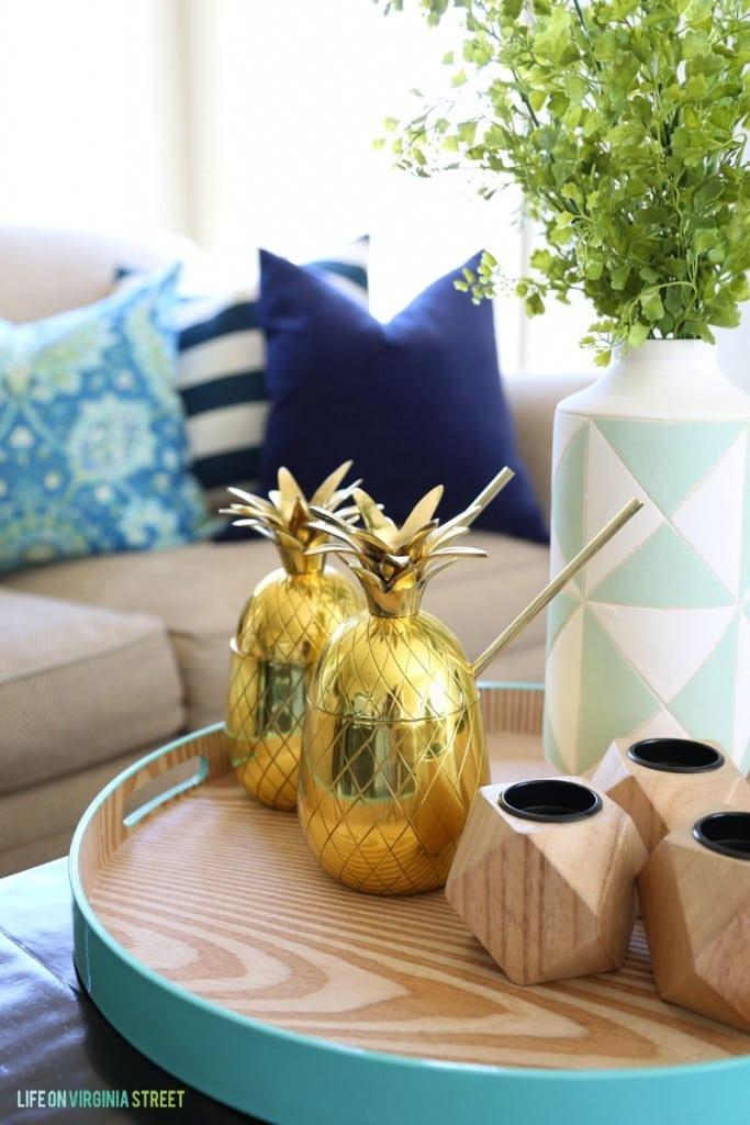 gold pineapple mugs and tray life on virginia street - Home Decor Giveaway