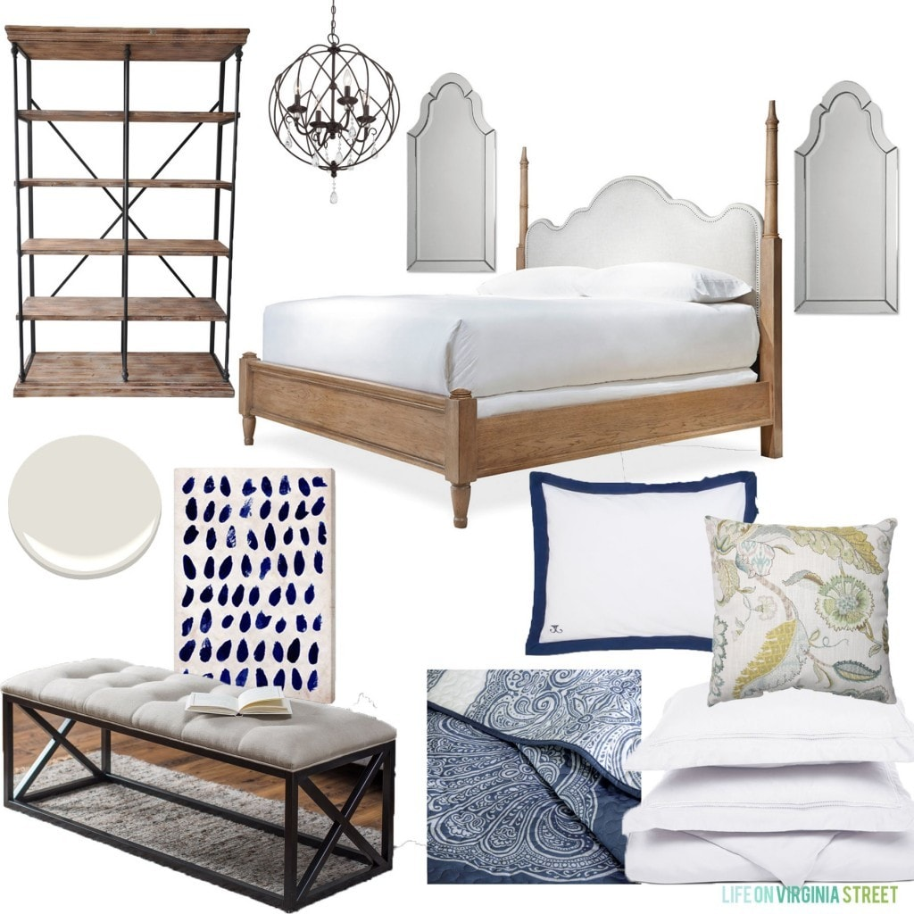 Guest Bedroom Hayneedle Design Board with a bed, chandelier, bedding, and shelving pictured.