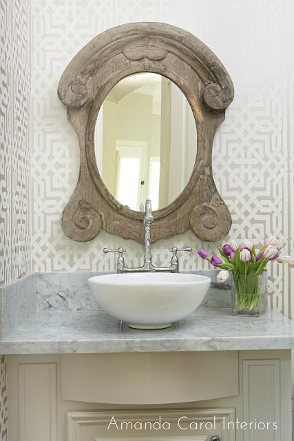 Powder Bath will Trellis Walls and Wood Mirror **NEED LINK