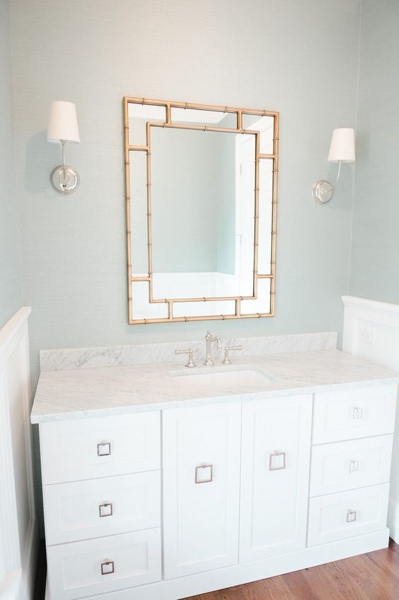 Powder Bath with Blue-Green Grasscloth and Brass Mirror via Studio McGee