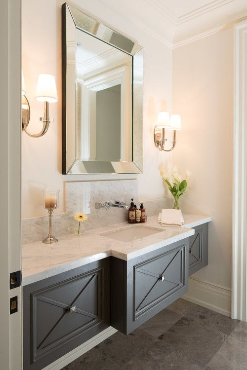 Powder Bath with Floating Gray Vanity via Prestige Homes
