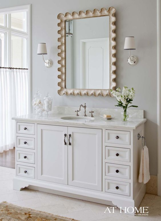 Powder Bath with Scallop Mirror via At Home