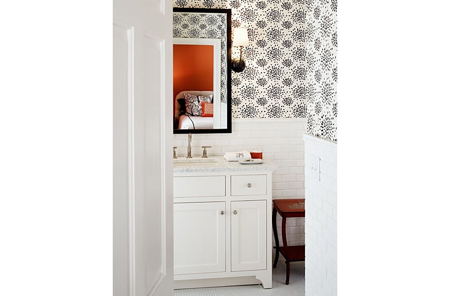 Powder Bath with Subway Tile and Black and White Wallpaper via Barrie Benson