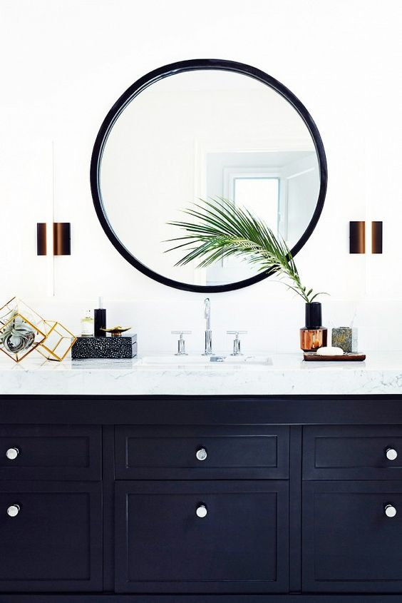 Powder Bath with White Walls and Black Vanity