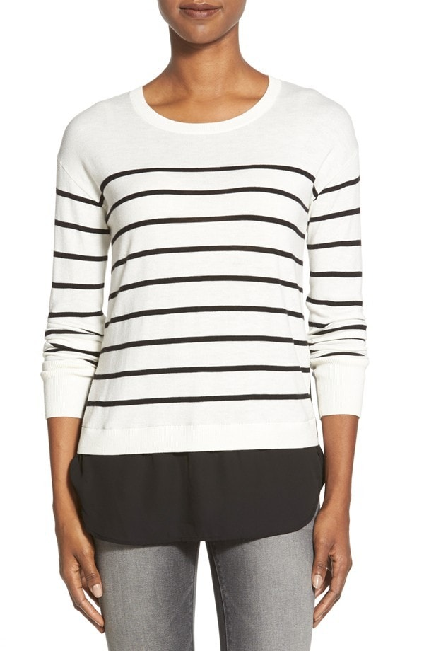 Striped Top with Button Back