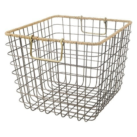 Wire Milkcrate with Seagrass Rim Basket