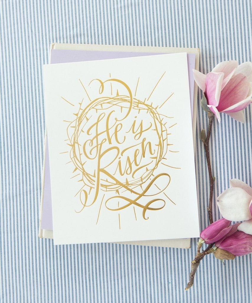 He is Risen print via Lindsay Letters