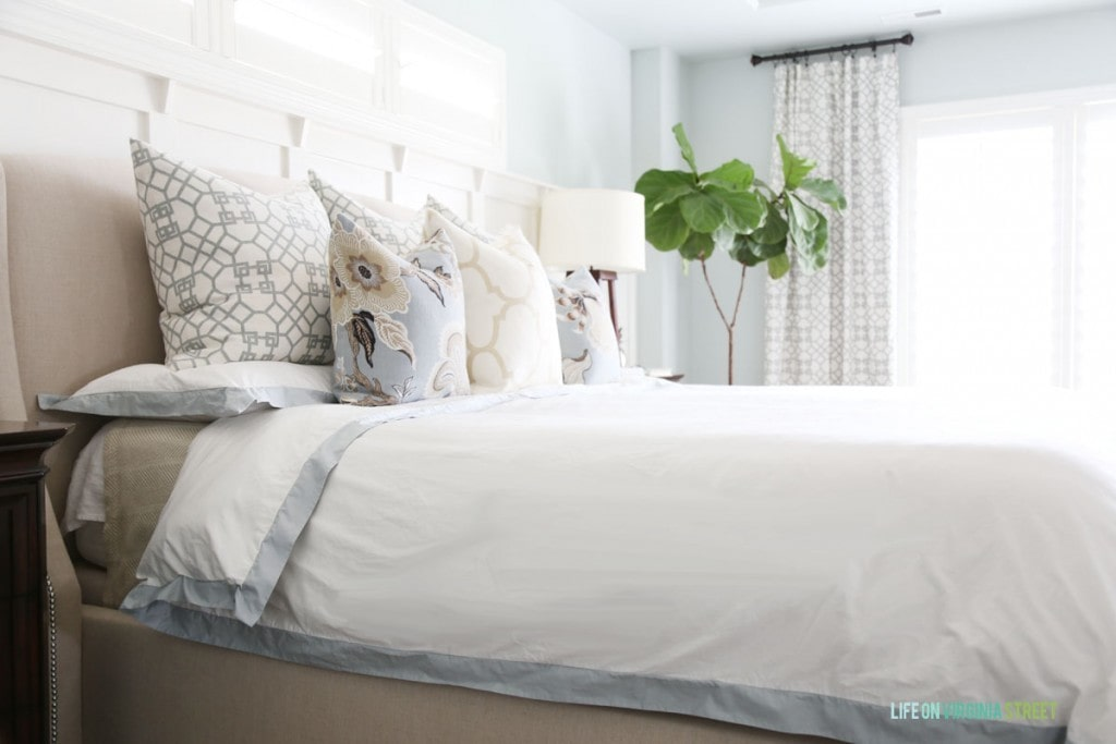 For the master bedroom refresh, I made throw pillows in the following fabrics: Windsor Smith Pelagos Mist, Schumacher Hothouse Mineral, Windsor Smith Riad Ivory. I received amazing new bedding from Crane and Canopy - the Linden Porcelain Green Duvet Cover
