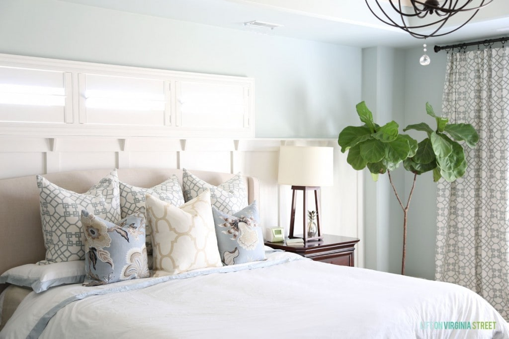 Windsor Smith Pelagos Mist, Schumacher Hothouse Mineral, Windsor Smith Riad Ivory in Master Bedroom Refresh With New Pillows and Sea Salt Walls - Life On Virginia Street
