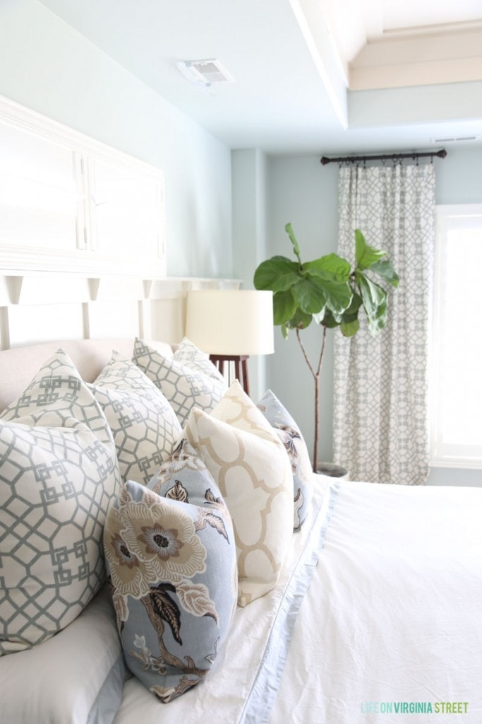 Master Bedroom Refresh with new Pillows and Bedding from Crane & Canopy - Life On Virginia Street