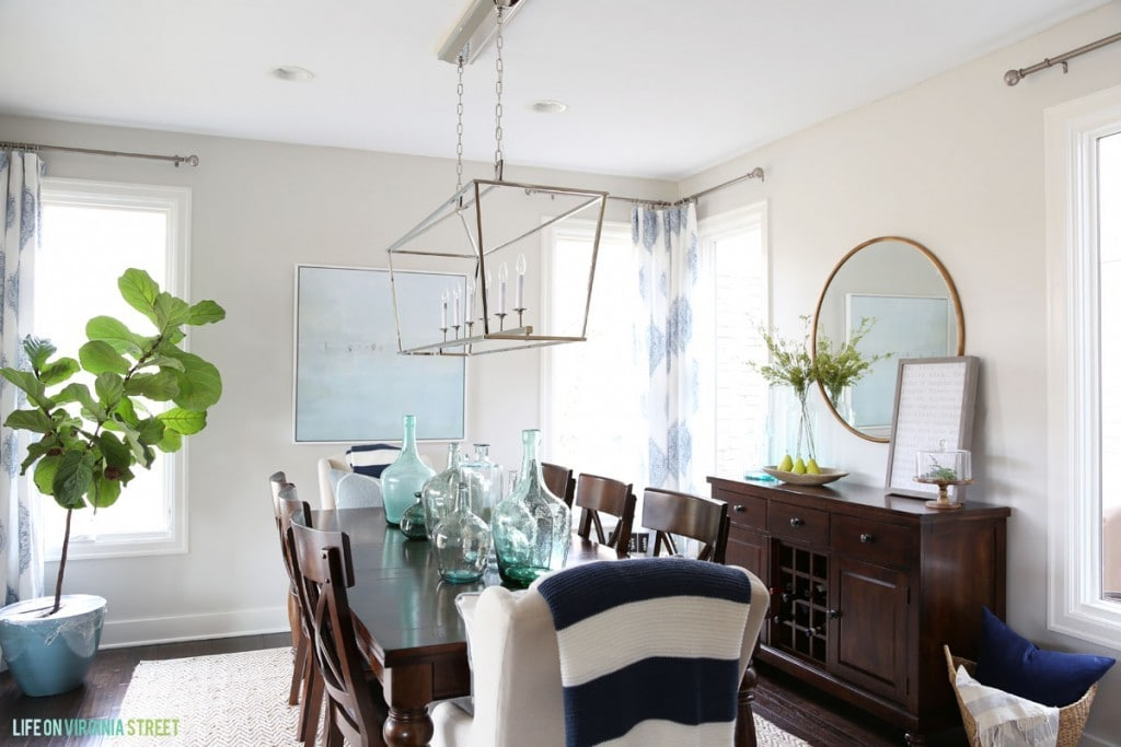 Navy, Gray and White Dining Room in Life On Virginia Street's Spring Home Tour