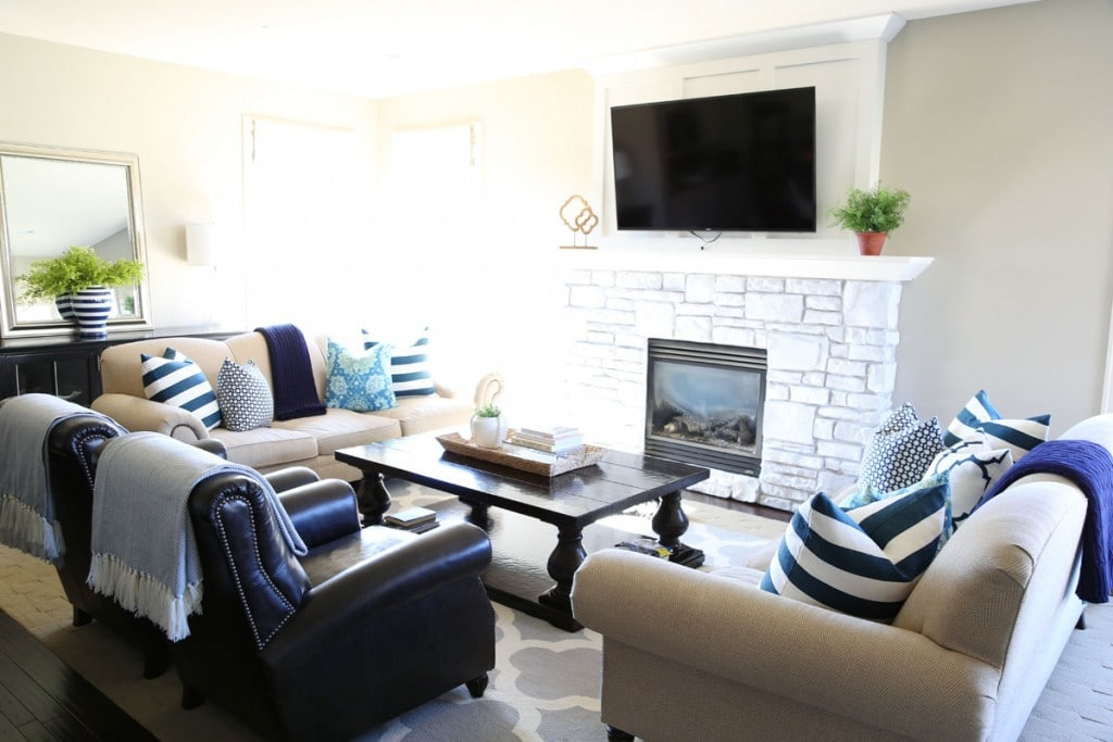 Navy and Turquoise Spring Living Room from Life On Virginia Street