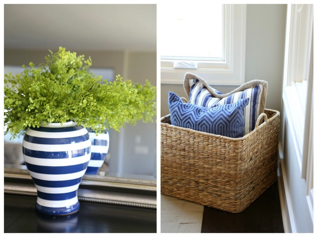 Navy and White Living Room Details via Life On Virginia Street's Spring Home Tour